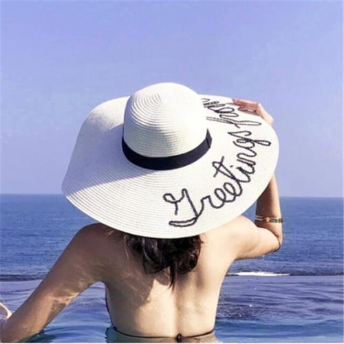 Women Fashion Summer Big Wide Brim Straw Hat  Letter Embroidery Beach Hat