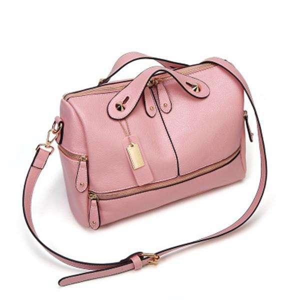 Cowhide PU Leather Handbag Multi Pockets Crossbody Bag