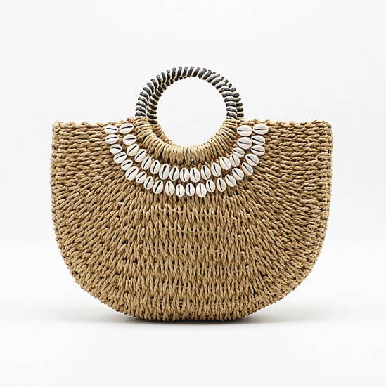 Women's Handmade Shell Straw Handbag