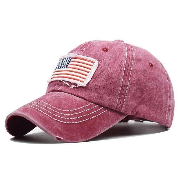 Hole Ponytail Baseball Cap USA Flag Trucker Hat