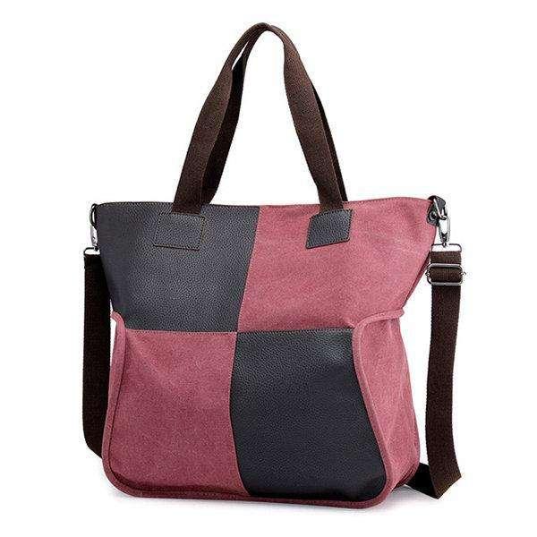 Canvas Casual Large Capacity Patchwork Handbag Crossbody Bag