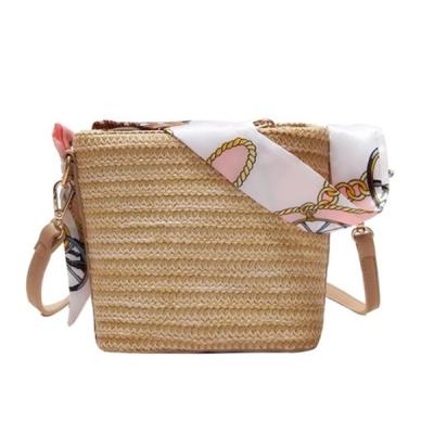Straw Scarf Bucket Bag Crossbody Bag For Women