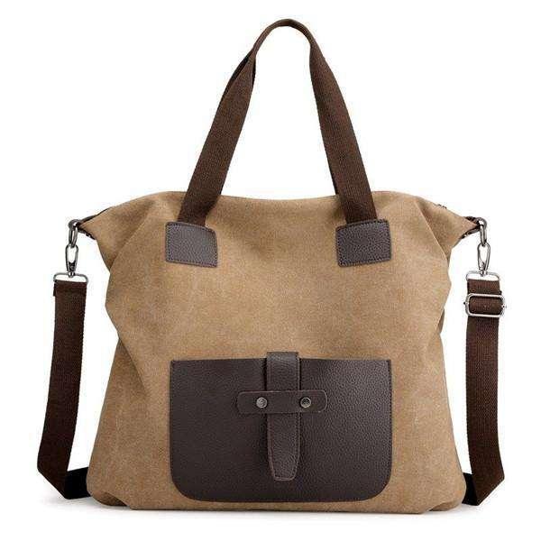 KVKY Canvas Crossbody Bag Large Capacity Patchwork Tote Bag