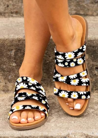 Sunflower Sequined Slip On Flat Slippers