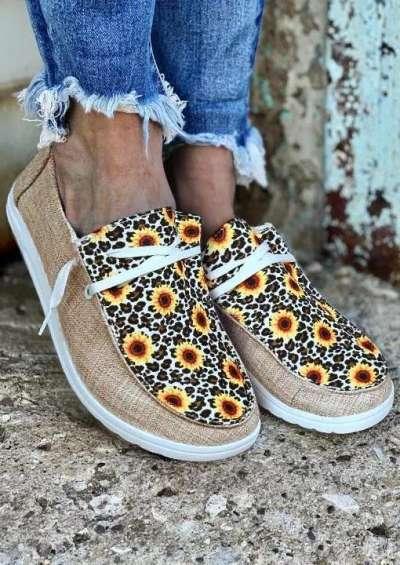 Leopard Sunflower Slip On Flat Sneakers