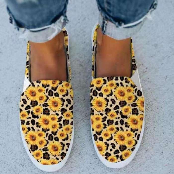 Women's Shoes Sunflower Allover Print Canvas Shoes