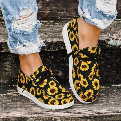 Sunflower Lace Up Flat Canvas Sneakers