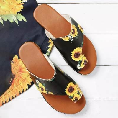 Women's Slippers Sunflower Printed Flat Clip Toe Slippers