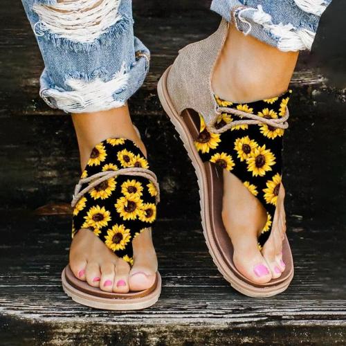 Summer Sunflower Zipper Flat Sandals