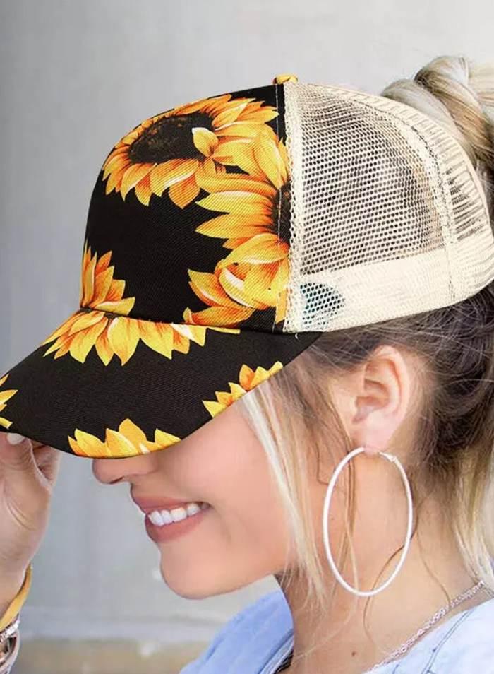 Women's New Fashion Caps Sunflower Color Block Baseball