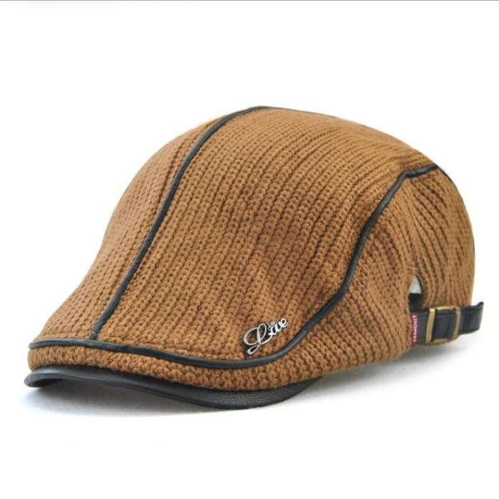 Men's Knit Flat Cap Padded Warm Beret Caps Casual Outdoor Visor Forward Hat