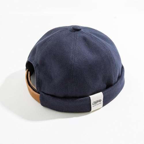 Men & Women Retro Sailor Cap Cold Hat Solid Color Skull Cap Brimless Hats