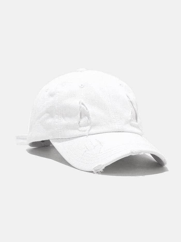 Unisex Cotton Broken Holes Fashion Outdoor Sunshade Baseball Hat