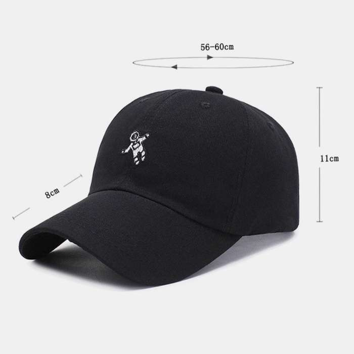 Unisex Cotton Embroidery Astronaut Pattern Sunscreen Casual Couple Hat Baseball Hat