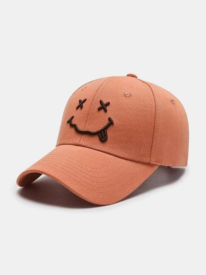 Women & Men Smile Embroidery Pattern Plain Color Warm Fashion Personality Sunvisor Baseball Hat