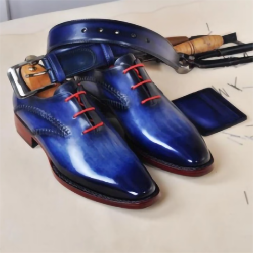 New Breathable PU Round Toe Thick Heel Men's Leather Shoes