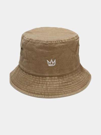 Unisex washed Made-old Cotton Solid Color Crown Pattern Embroidery Simple Bucket Hat
