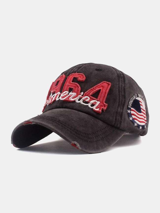 Unisex Cotton Make-old Hole Letter Embroidered Digital Patch Sunshade Baseball Cap