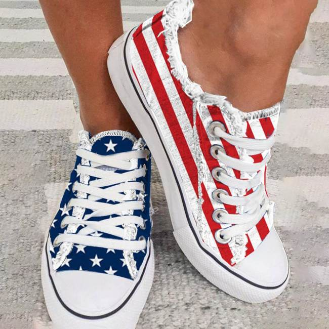 Women's Sneakers Star Striped Lace-up Canvas Sneakers