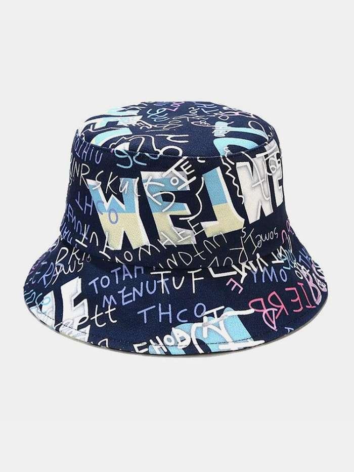 Unisex Cotton Letters Graffiti Pattern Printing Fashion Sunscreen Bucket Hat