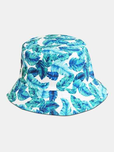 Unisex Cotton Overlay Blue Leaves Print Double-sided Wearable All-match Sunshade Bucket Hat