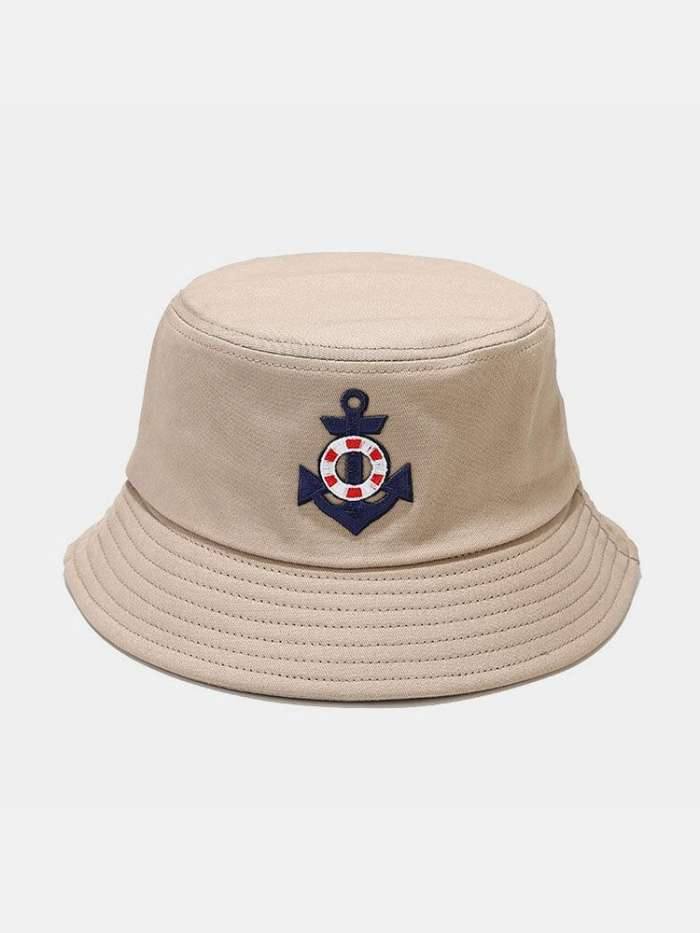 Unisex Cotton Solid Anchor Lifebuoy Pattern Embroidered Outdoor Sunshade Bucket Hat