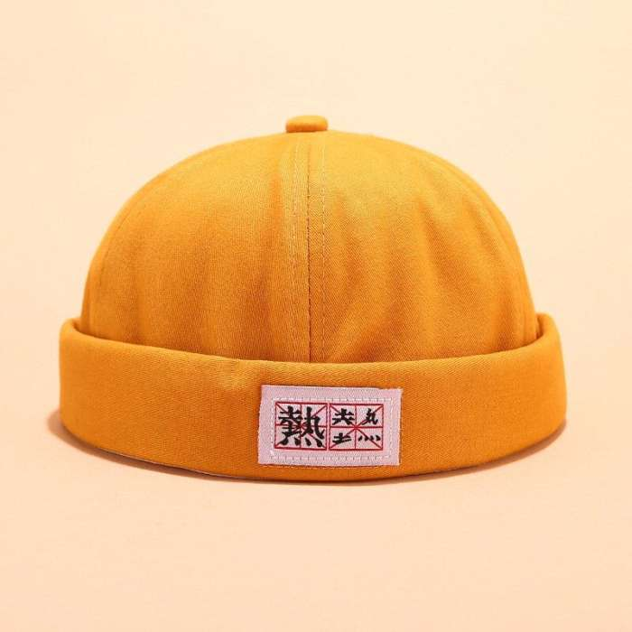 Men Women Cotton Solid Color Brimless Hats Skull Caps With Chinese Letters