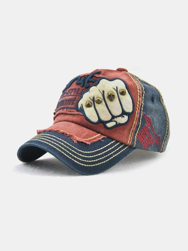 Men Vintage Adjustable Denim Patch Baseball Cap Outdoor Casual Travel Sunshade Hat