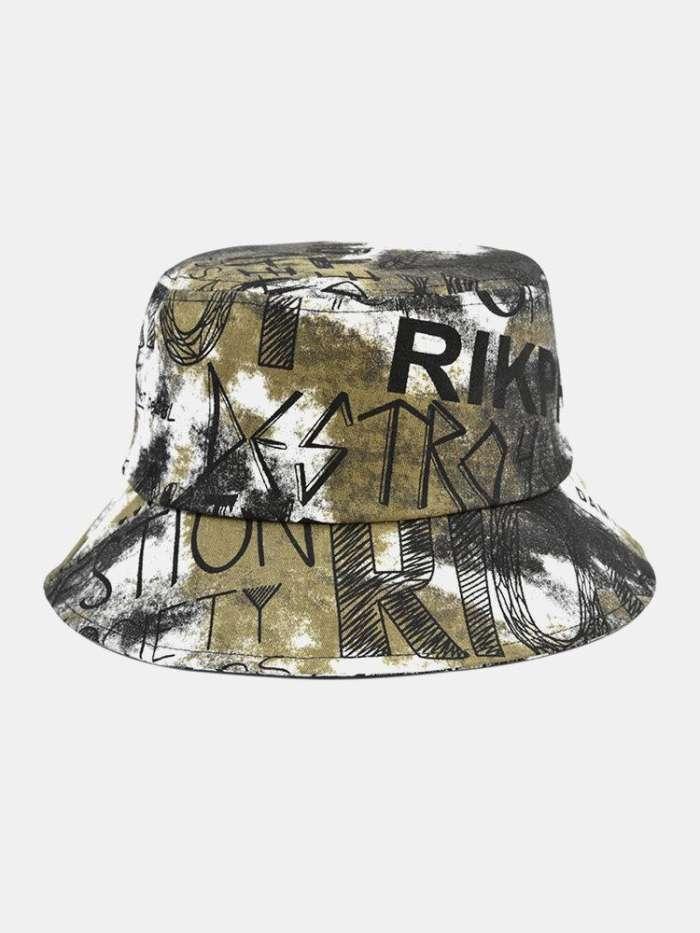 Unisex Cotton Tie-dye Letter Graffiti Painted Pattern Printing Big Brim Sunshade Bucket Hat