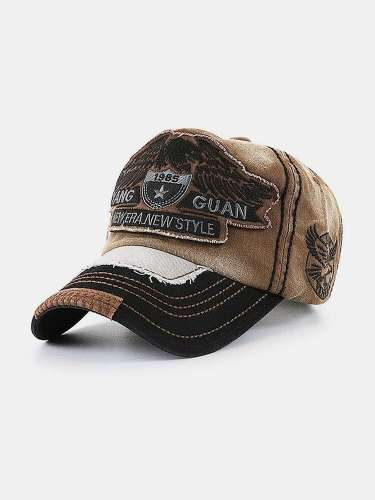 Men & Women Eagle Embroidered Letter Pattern Baseball Cap Embroidery Washed Distressed Cap
