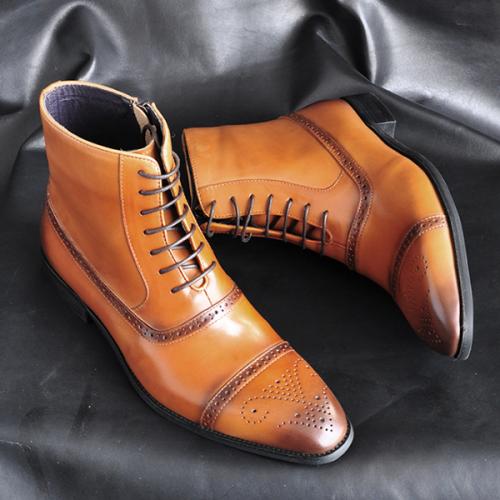 Men's Side Zipper Three-joint Polished High-top Broch High-waist Martin Boots