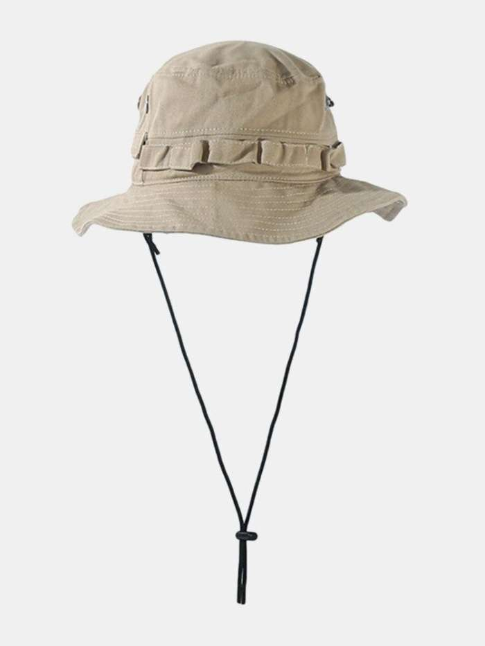 Unisex Cotton Solid Color Concealed Adjustment Strap Sunshade Bucket Hat