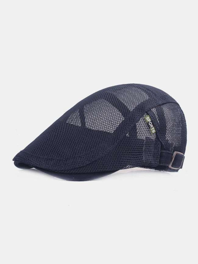 Unisex Full Mesh Solid Color Letters Cloth Label Cool Breathable Suncreen Beret Flat Cap