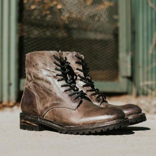 New Retro Low-heel Square Heel Lace-up Men's Boots