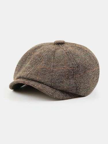 Men British Style Retro Elastic Casual Lattice Pattern Painter Newsboy Hat Beret Hat Octagonal Hat