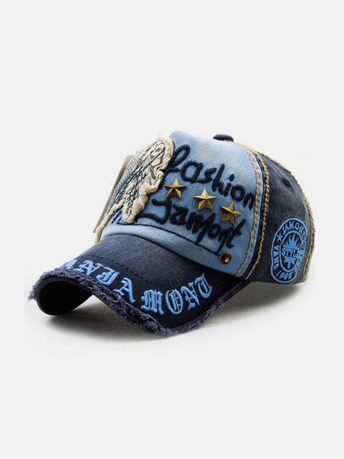Men Women Vintage Cotton Washed Embroidery Baseball Cap Adjustable Golf Snapback Hat