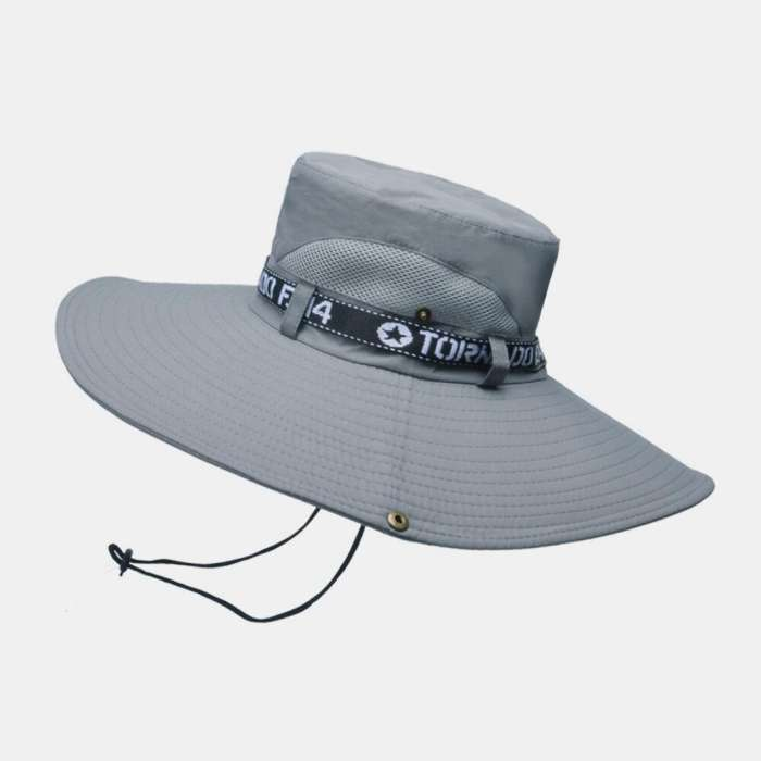 Mens Bucket Hat Outdoor Fishing Hat Climbing Mesh Breathable Sunshade Cap Oversized Brim With String