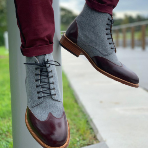 New Men's Round Toe Low-heel Lace-up Casual Leather Boots