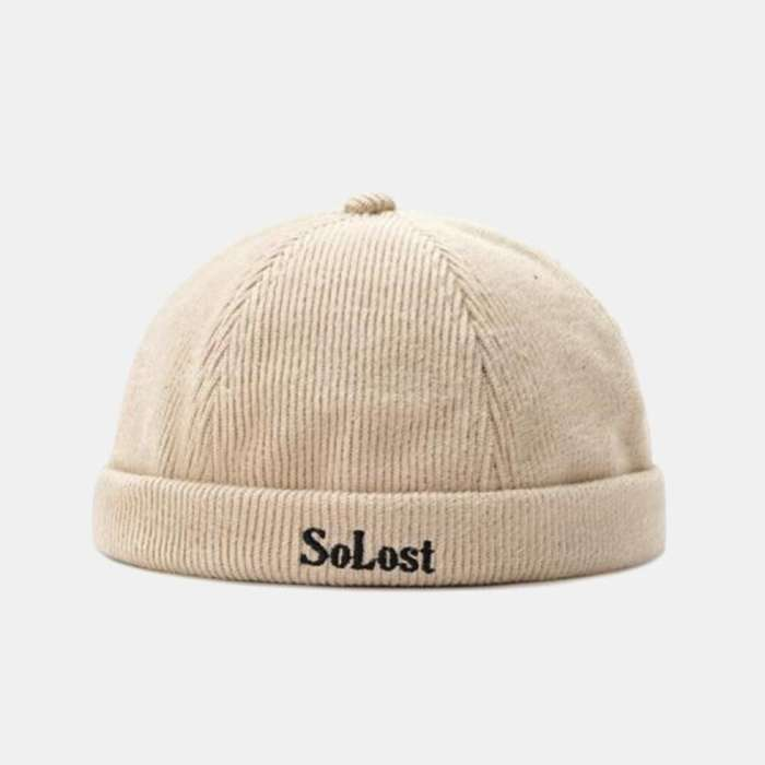 Men & Women Corduroy Brimless Hats Solid Color Letter Embroidery Skull Caps