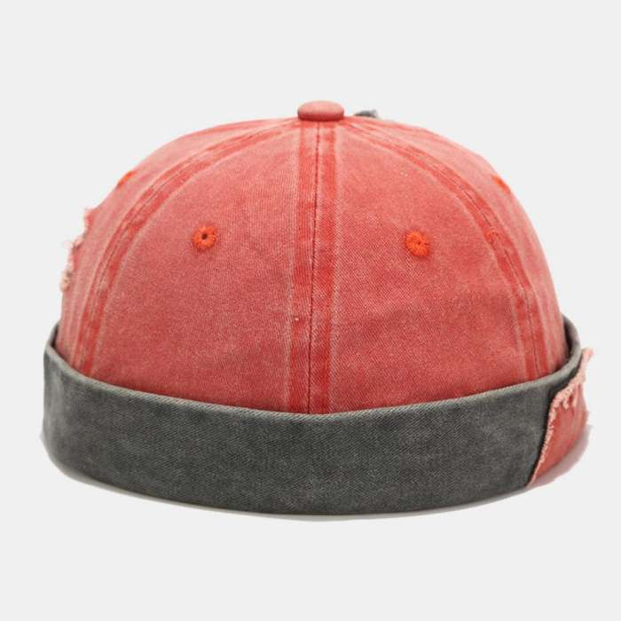 Men & Women Cotton Made-old Washed Patch Hole Patchwork Color Casual Yuppie Brimless Landlord Hat Skull Hat Beanie
