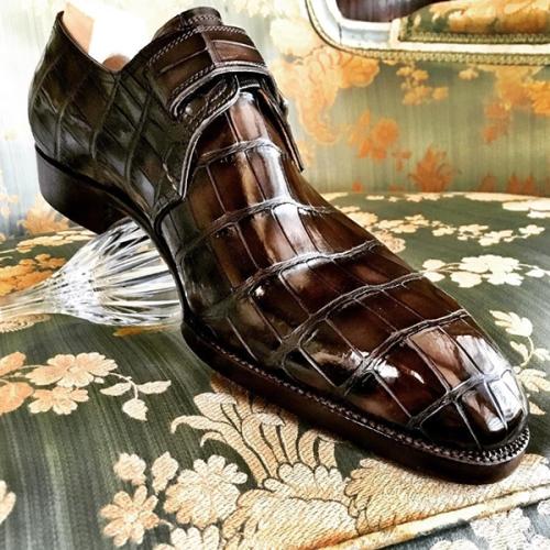 Crocodile Pattern Low-heel Belt Buckle Men's Business Leather Shoes