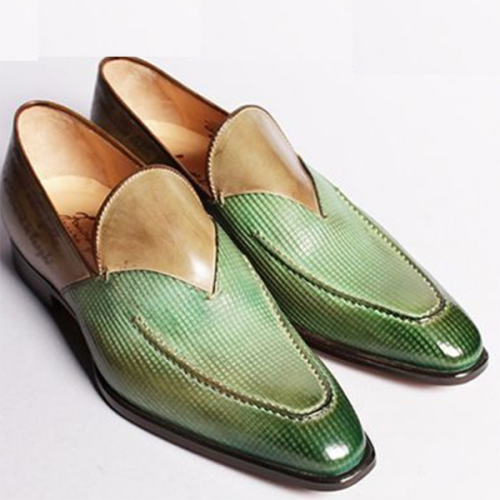 New Color Matching Check Pattern Set Foot Men's Leather Shoes