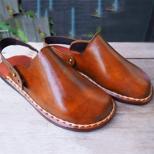 Casual and Versatile Men's Sandals with Flat Bottom and Big Square Head Thick Line