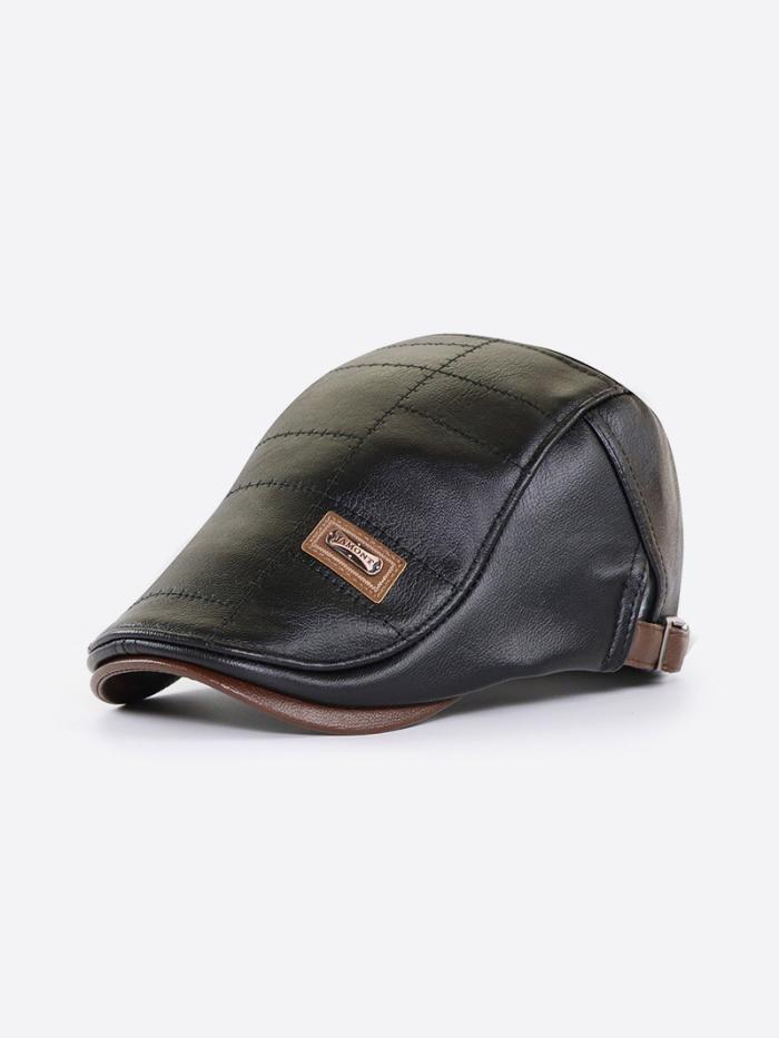 Men's Faux Leather Beret Hat Casual Newsboy Cap Warm Flat Caps