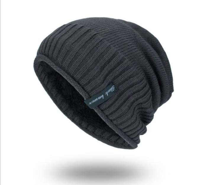 Men Solid Color Stripe Knitted Skullies Beanie Cap Earmuffs Warm Outdoor Casual Hats