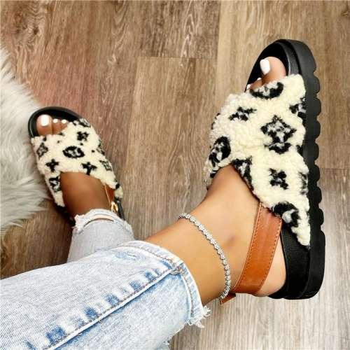Cross Band Fur Sandals