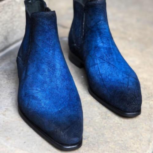 Men's Formal Square Toe One-Piece Gradient Retro Martin Boots