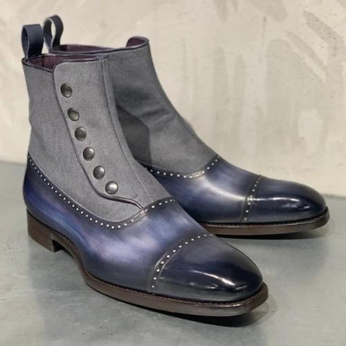 Men's Low-heel Gradient Low-top Trendy Boots