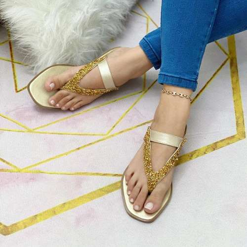 Women's Fashionably Sequined Flip-flops