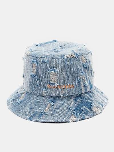 Unisex Denim Letter Pattern Embroidery Damaged Made-old Fashion Bucket Hat